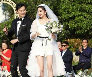 关晓彤杨颖婚纱造型 短裙婚纱别有一番魅力