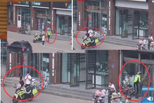 交警回避让情侣拍照 记录恋爱期间的感动瞬间