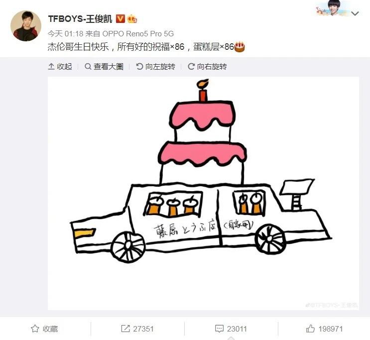 王俊凯画AE86为周杰伦庆生