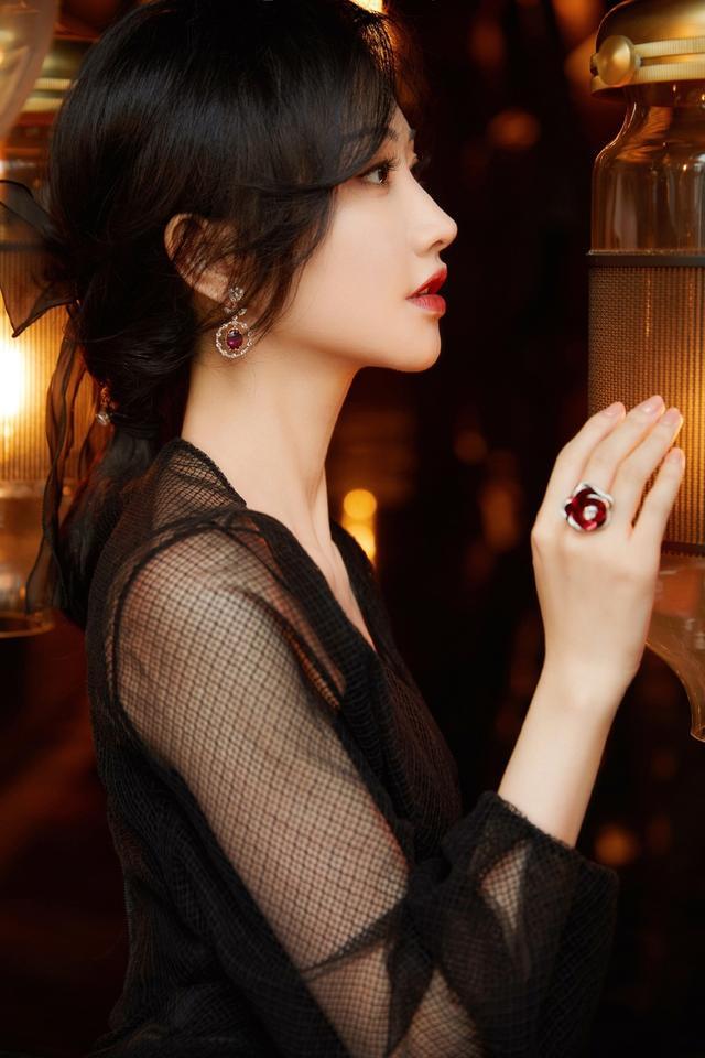 景甜黑纱百花刺绣礼服