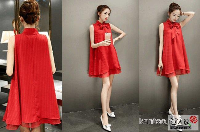 2016夏装红色连衣裙 360度秀出好身材赚足回头率