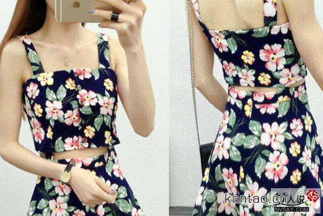 2016夏装新款吊带碎花连衣裙 清新减龄夏季凹造型必备